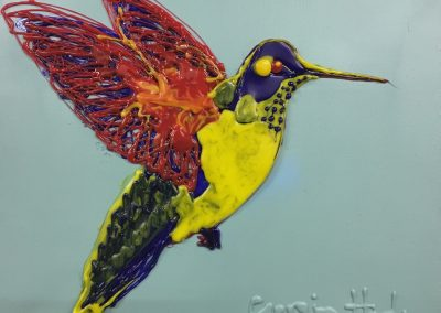 "HUMMINGBIRD I - GLUE & PAINT ON CANVAS  - 20"" x 16"""