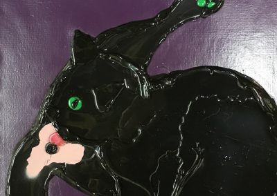 "CAT - GLUE & PAINT ON CANVAS  - 20"" x 16"""