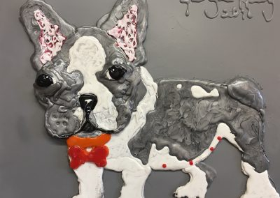 "FRENCH BULL DOG II - GLUE & PAINT ON CANVAS  - 15.5"" x 19.5"""